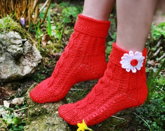 Ladies wool socks, Soft knitted socks with daisy, Hand knitted women wool socks with flower, Red girls socks, Grandma gift