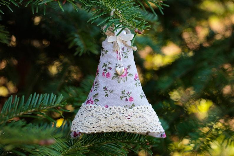 Handmade decor Christmas tree ornament Fabric decoration Tree ornament Christmas tree decoration Christmas bell