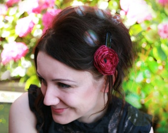 Handmade hair clip, Hair clip with flower, Ladies hair clip, Womens Hair Accessory, Poppy hair clip, Poppy flower