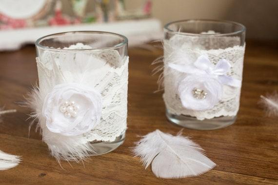 2 Hochzeit Kerzenhalter 2 Glas Weiss Kerzenhalter Hochzeit Etsy
