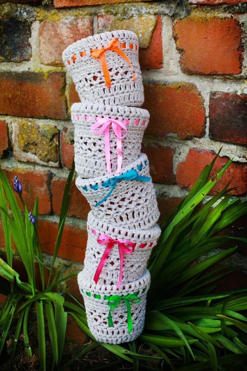 Ręcznie Robione Doniczki Doniczki Doniczki Crochet Pot Przytulny Wiosna Ozdoba Dekoracja Stołu Z