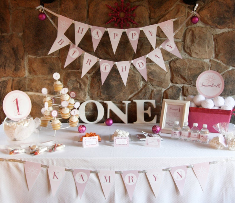 Winter Onederland Birthday Party Theme Baby Girl S First Birthday Complete Personalized Printable Party Package Digital Files Only