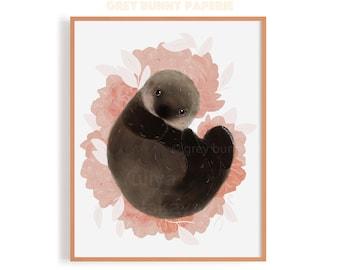 Otter in Peonies Print