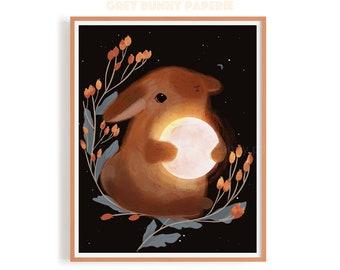 Bunny Holding Moon Print