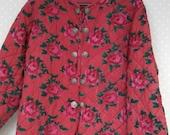 vintage 80s padded jacket 80s bohemian jacket Size M Indiska quilted jacket all weather cotton jacket floral jacket 80s retro jacket