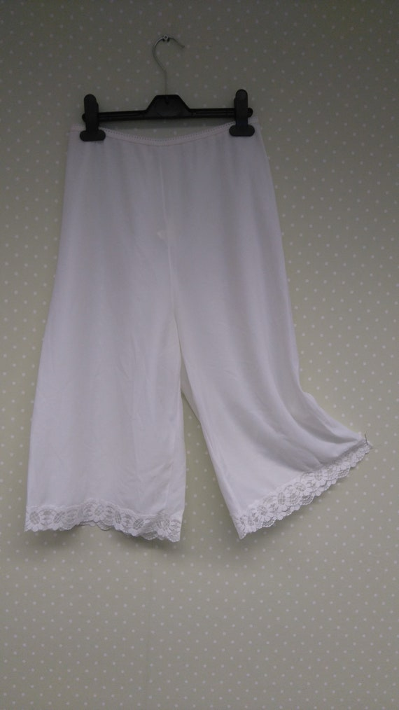 Vintage style long brown nylon pantie slip pettipants culottes bloomers