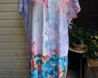Sale 20% off/ART Cotton summer rustic dress/size XL, unique,ecofriendly, to Wear dress BASKET/Boho/Hippie,casual,endladesign