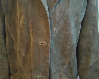 Sale 50%off/Vintage Jazz olive suede leather jacket/OOAK, Size L,vintage 90 s,cottage chic,country western, boho,hipi,