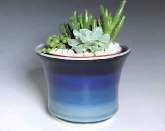 """Blue Succulent Planter, Blue Ceramic Planter, Porcelain Plant Holder, Blue Indoor Planter, Pottery Planter With 4"""" Removable Plastic Pot"""