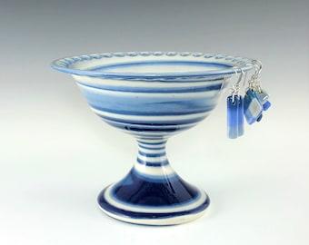 Ceramic Earring Pedestal, Blue and White Marbled Porcelain Earring Holder, Wheel Thrown Pottery Earring Bowl