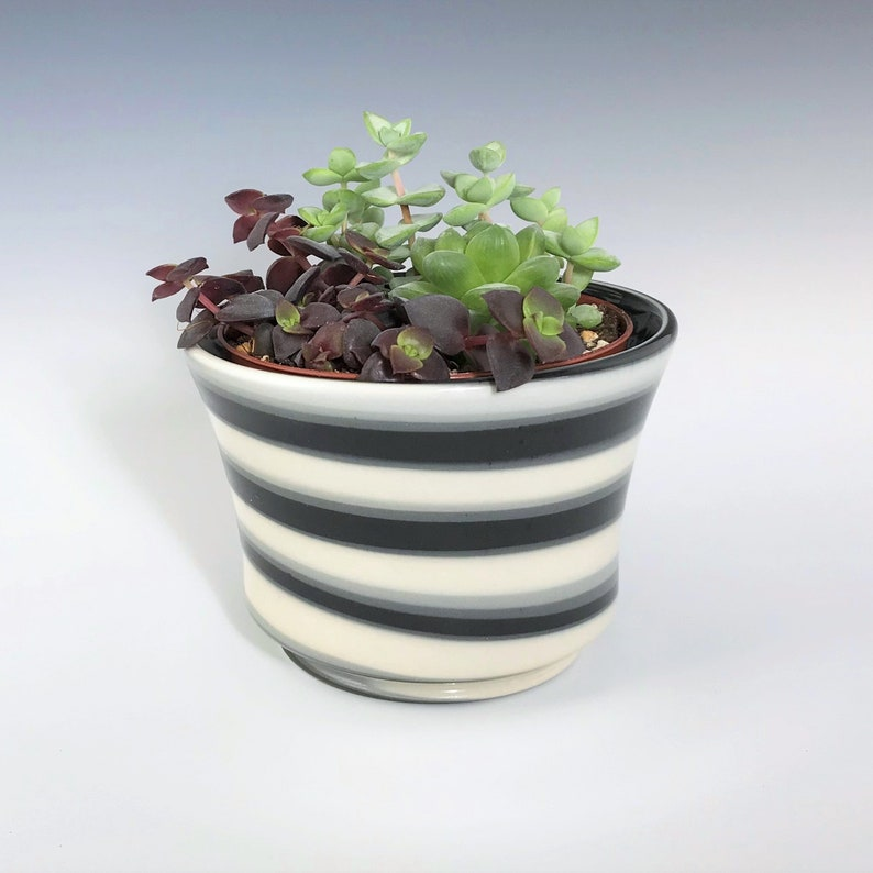 Ceramic Succulent Planter Gray Black and White Marbled image 0