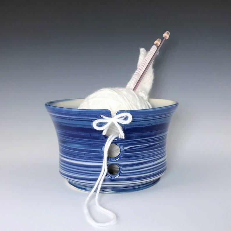 Large Blue Ceramic Yarn Bowl Blue and White Marbled Porcelain image 0
