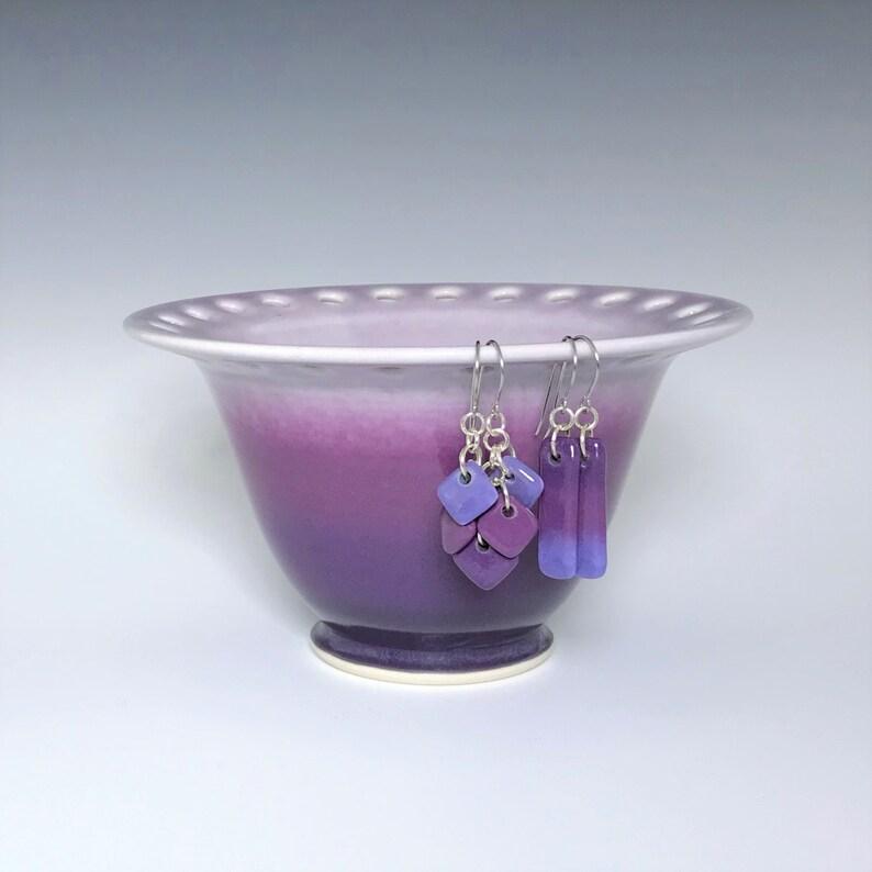 Purple Earring Holder Porcelain Ceramic Earring Holder Wheel image 0