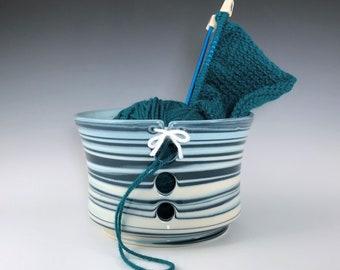 Large Teal Ceramic Yarn Bowl, Teal Aqua White Marbled Porcelain Knitting Bowl, Wheel Thrown Pottery Yarn Holder