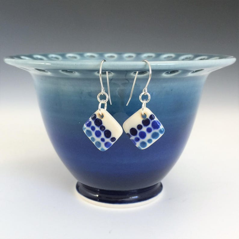 Porcelain Ceramic Earrings With Surgical Steel or Sterling Silver Ear Wires Small Blue Polka Dot Earrings