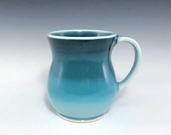 Teal Ceramic Coffee Mug, Extra Large Round Belly Ceramic Mug, Porcelain Coffee Cup, Wheel Thrown Pottery Mug
