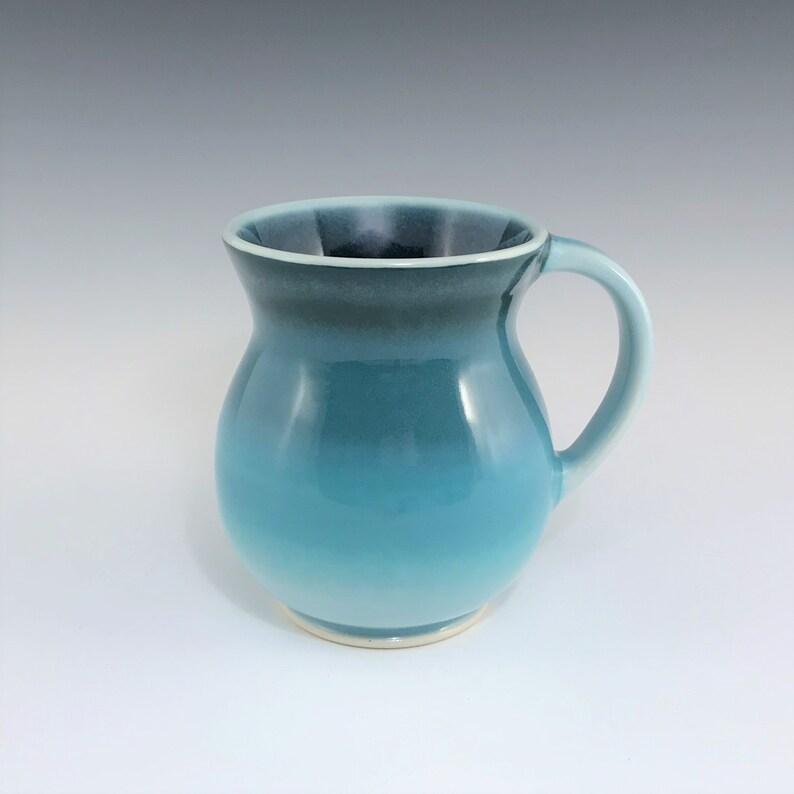 Teal Ceramic Coffee Mug Large Round Belly Ceramic Mug image 0