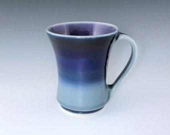 Ceramic Coffee Mug, Blue & Purple Porcelain Mug, Wheel Thrown Pottery Mug, Large Tea and Coffee Cup