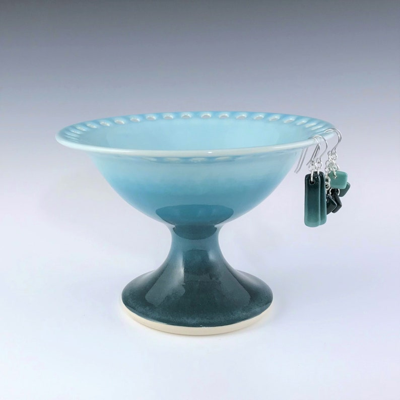 Porcelain Earring Pedestal Ceramic Earring Holder Large Teal image 0