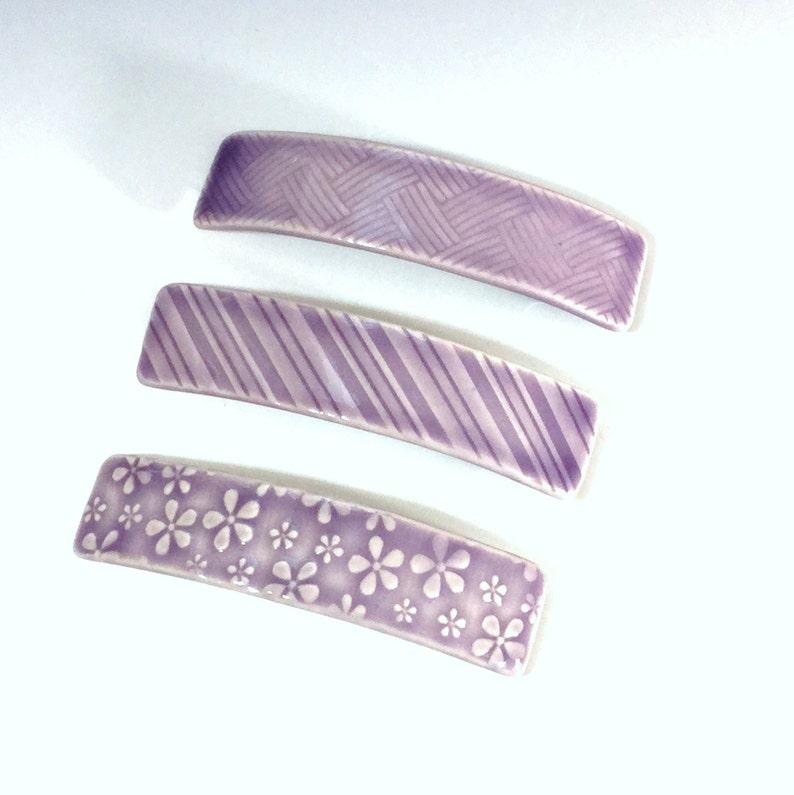 Porcelain French Barrette Large Purple Ceramic Barrette Flower Pattern Hair Barrette Lavender Ceramic Hair Clip