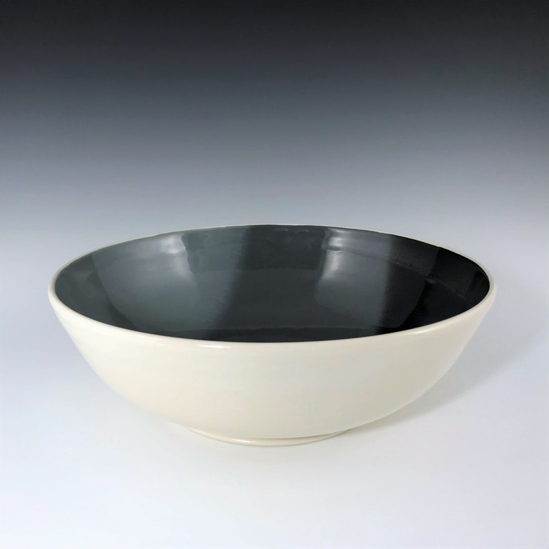 Gray Black and White Ceramic Pasta Bowl Porcelain Serving image 0