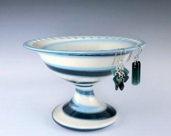 Ceramic Earring Pedestal, Teal Aqua and White Marbled Porcelain Earring Holder, Wheel Thrown Pottery Earring Bowl