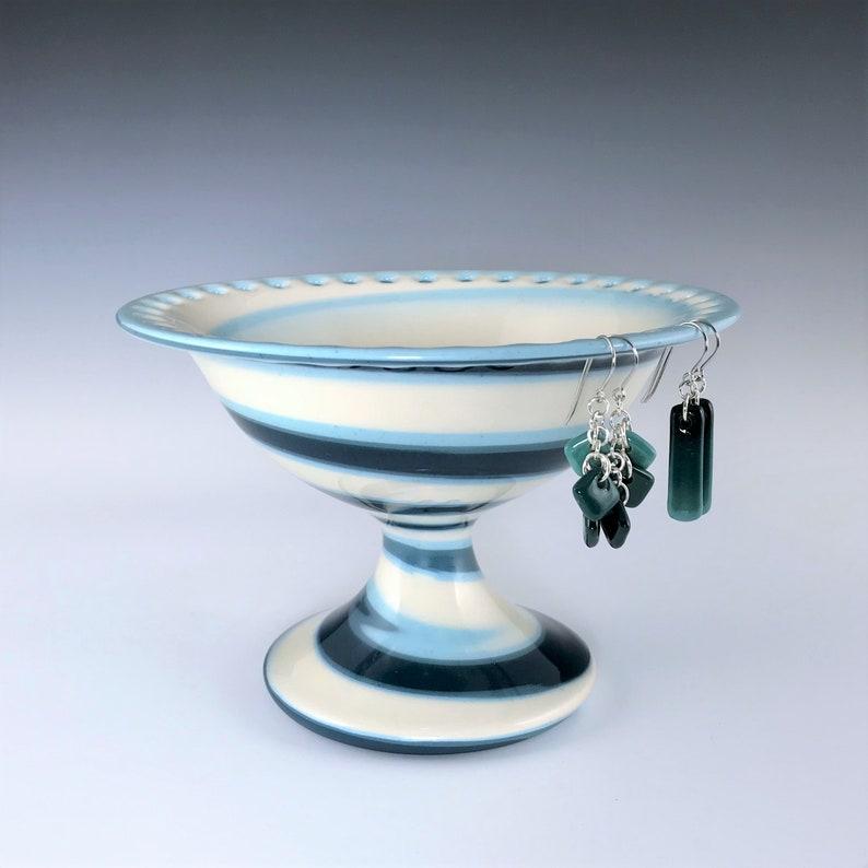Ceramic Earring Pedestal Teal Aqua and White Marbled image 0