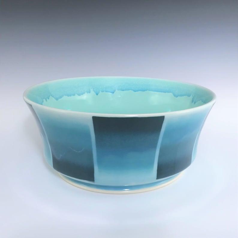 Teal Ceramic Serving Bowl Aqua Wheel Thrown  Porcelain image 0