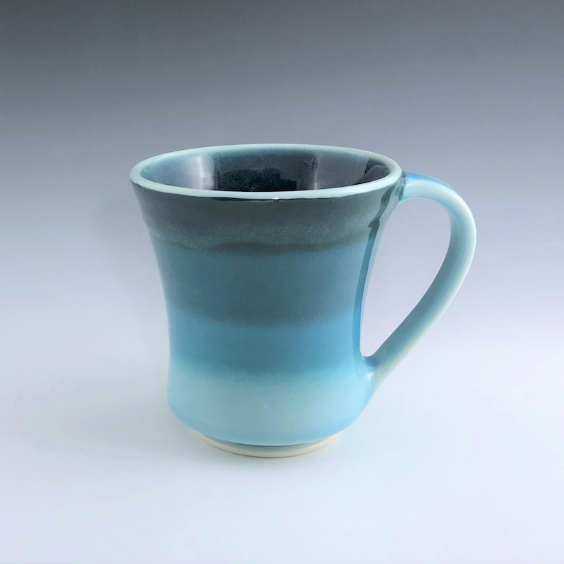 Teal Ceramic Mug Wheel Thrown Aqua Pottery Coffee Mug Wide image 0
