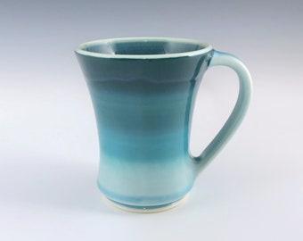 Teal Ceramic Mug, Wheel Thrown Aqua Pottery Coffee Mug, Turquoise Porcelain Tea or Coffee Cup