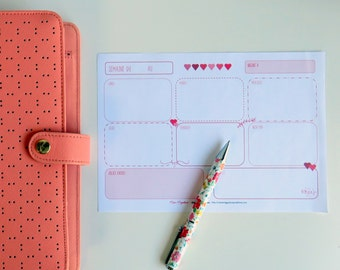 Weekly notes A5 printable-White and pink-planners-Kikki K-Filofax-Bullet journal-Bujo