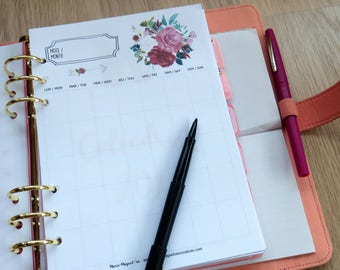 Roses Inserts for planners - Printable Inserts - For women - Organization - Roses - To do - Notes - To record appointments, household tasks