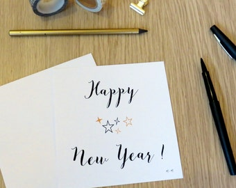 Happy New Year set of 4 cards- Gold and black- New Year-Gift card -Greeting cards-Merry Christmas-Stars-Gold star-Black star