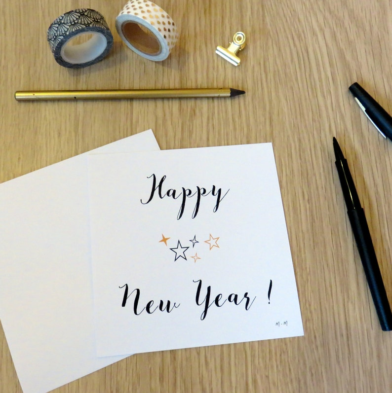 Happy New Year set of 4 cards Gold and black New Year-Gift image 0