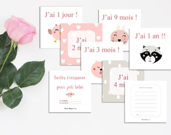 Baby cards with animals - Pink baby cards - Growth pink cards - For babies - For young parents - Birthday - Pink and gray birth cards - Pink