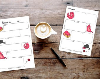 Weekly notes - A5 with cats - Pink cats - Organization - Pretty planning - For planner - For women - For Bullet Journal - Pink - Cats