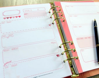 Inserts taille A5 pour la semaine sur 2 pages rose et blanc à motif coeur rose pour planner, agenda, bullet ou planning