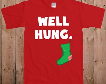c7d0c3bca2a Funny Christmas shirt great stocking stuffer ideas Well hung funny Christmas  gift reindeer santa claus tshirt T-Shirt Tee shirt TM-24