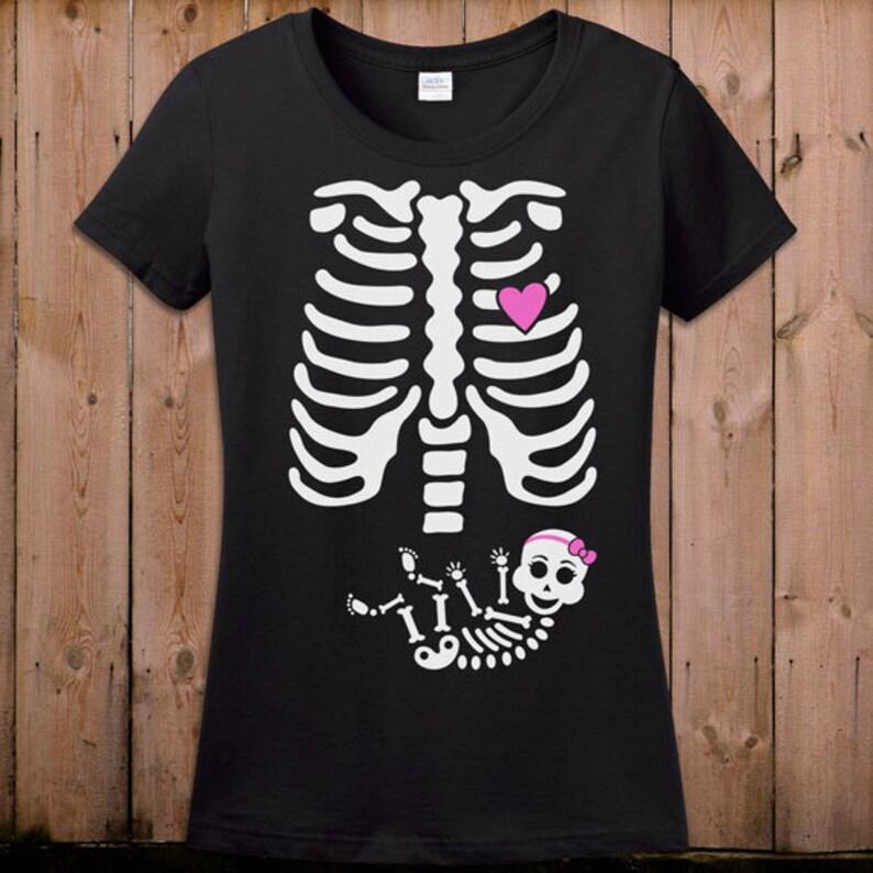 bf27bc4554780 Pregnant Skeleton Shirt Pregnancy Halloween Costume Maternity   Etsy
