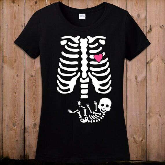 Pregnant Skeleton Shirt Pregnancy Halloween Costume Maternity Etsy