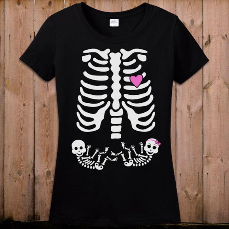 e298f755e Twin Pregnant Skeleton Shirt Pregnant Halloween Costume | Etsy