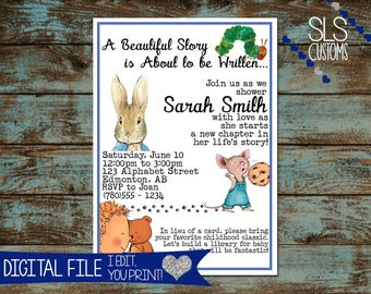 Printable baby shower invitation etsy reading story book themed printable baby shower invitation baby girl or boy shower customize your text digital files filmwisefo
