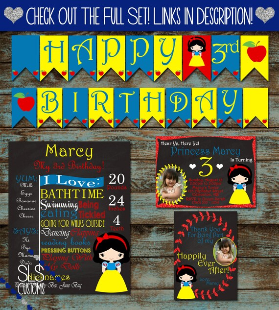 Personalize Snow White and the Seven Dwarfs Name Banner Glossy Birthday Poster