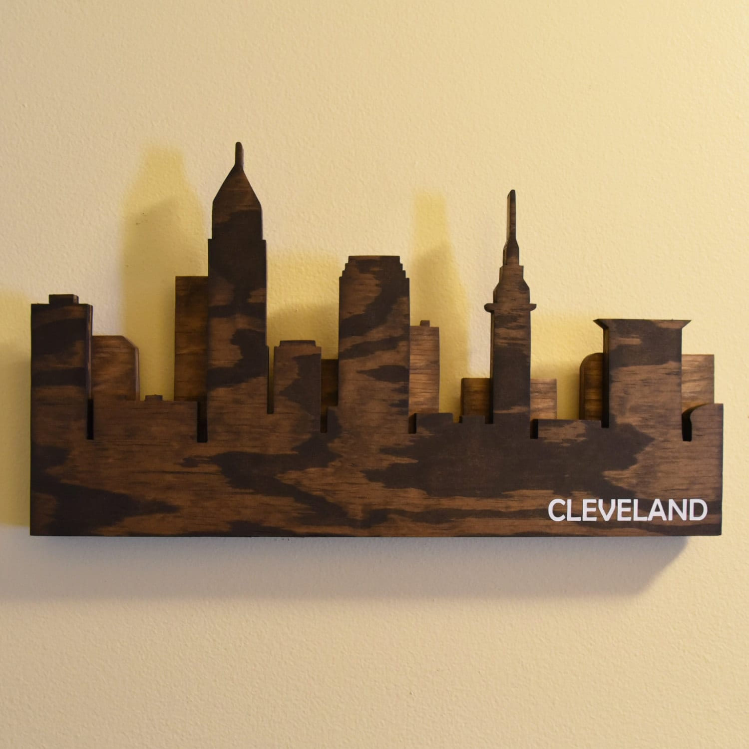 Cleveland Skyline Wall Art Handmade Wooden Cleveland Sign | Etsy