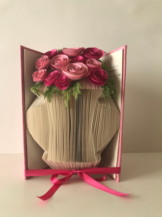 Flower vase book sculpture paper flowers pick your flower etsy image 0 mightylinksfo