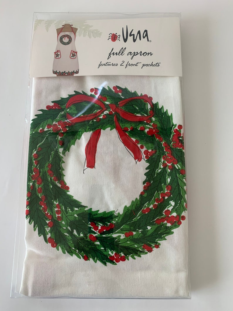 Vintage Apron Kitchen Apron Christmas Apron Gift for her Holiday apron by Vera Full apron Two front pockets Vera Kitchen Collection Present