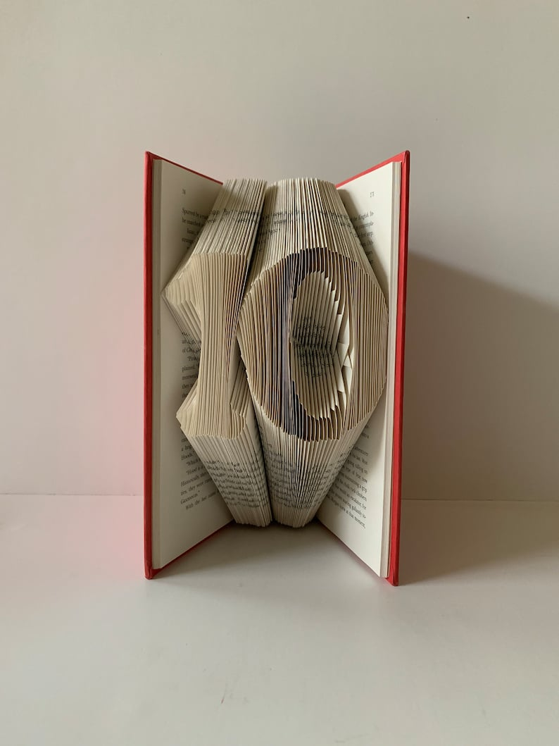 Ten sculpture Tenth anniversary 10 sculpture Folded book pages into numbers 10th anniversary Paper anniversary 10 year old Table centerpiece