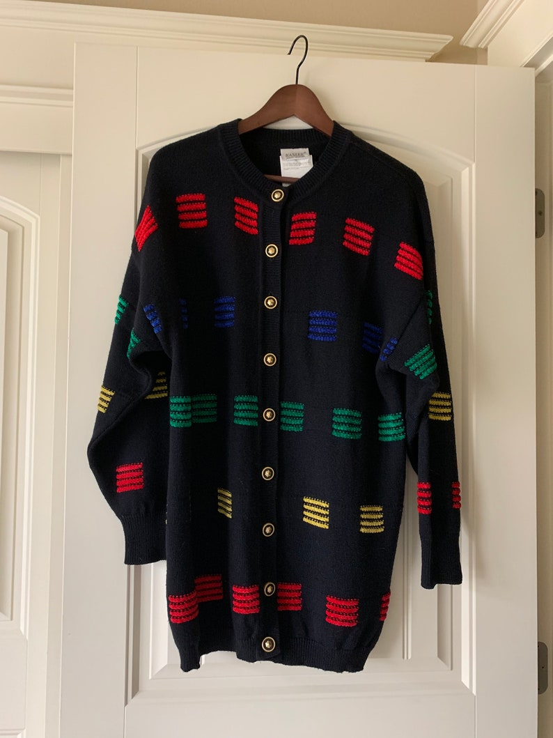 Striped Cardigan Preppy Cardigan Cardigan Sweater Women/'s Clothing 80/'s Cardigan Basler Sweater Multicolored Sweater Gold Buttons