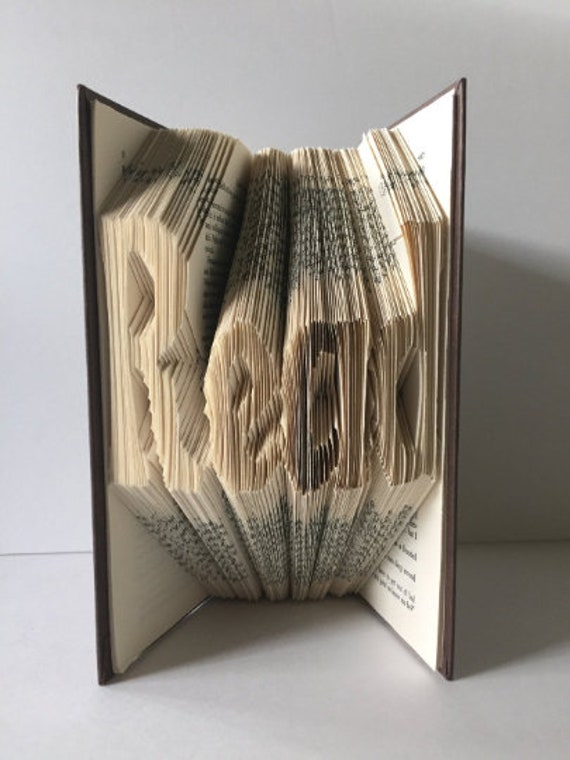 Book folding Art Read book fold Book sculpture Gift for him Book Lover Paper craft Gift Folded pages art Personalized gift Birthday gift Art