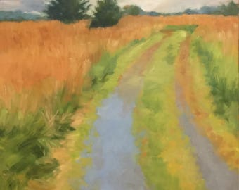Farm Lane off Logmill Rd, VA, oil on panel study, painting by Alexia Scott